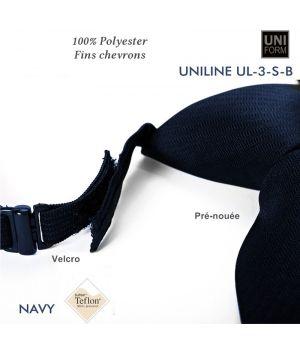 Cravate Marine, Pré-nouée, Polyester, 8.5 x 45 cm, anti-tache, élastique et Velcro