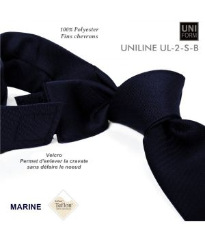 Cravate Marine, Polyester, 8,5 x 155 cm, anti-tache, fixation Velcro, chevrons