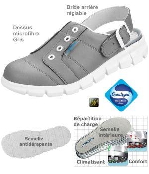 Sabots de travail confort, look jeune, Gris et Blanc, Dessus microfibre léger