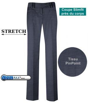 Pantalon slim femme, Marine, Coupe droite, Tissu PinPoint, Coolmax et Stretch