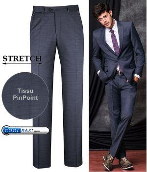 Pantalon Homme, Marine, Coupe ajustée, Tissu PinPoint, CoolMax et Stretch