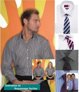 Chemise manches longues, intérieur col et poignets contrastés