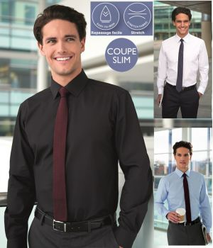 Chemise Homme, Manches longues, Coupe Slim, Poignets 2 boutons