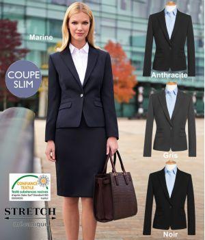 Veste Femme, Coupe courte et Slim, 1 bouton, 4 poches, Sans fente