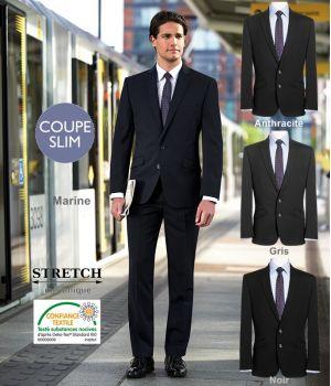 Veste Homme chic, Coupe courte et Slim, 2 boutons, Revers avec surpiqure