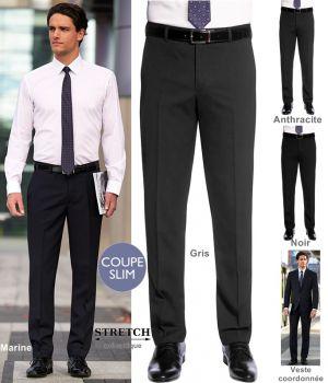 981a6a75d36cc Pantalon Homme, Coupe Slim, Sans pinces, polyester et laine