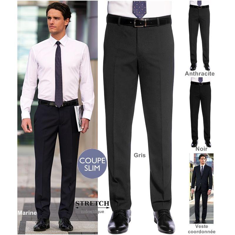 Attrayant Pantalon Homme, Coupe Slim, Sans Pinces, Polyester Et Laine