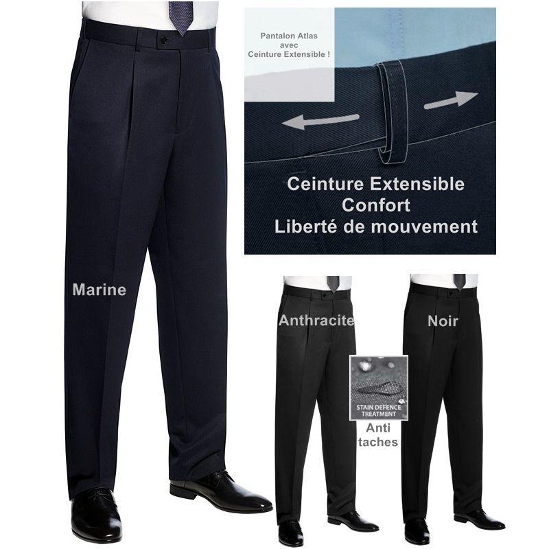 Pantalon homme ceinture extensible confort et libert de for Pantalon de cuisine homme