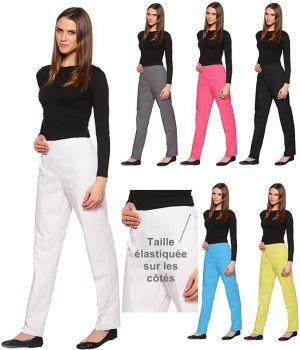 Pantalon femme, Effet ventre plat, Taille côté élastiquée, Sans poche