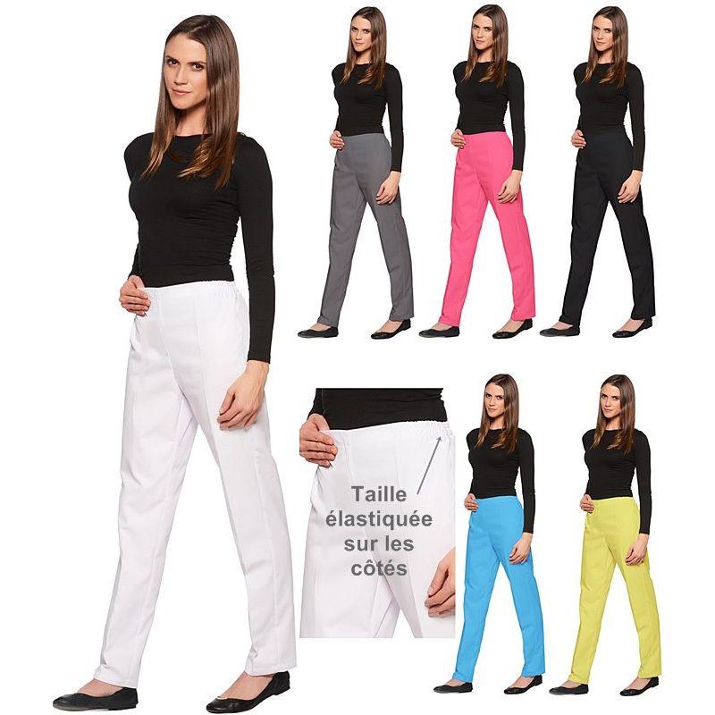 pantalon femme effet ventre plat taille c t lastiqu e. Black Bedroom Furniture Sets. Home Design Ideas