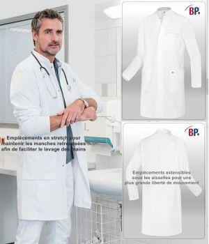 Blouse blanche médicale homme, Lavage des mains facilité, Manches longues