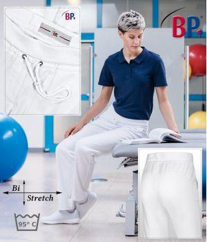 Pantalon Blanc Confort femme, Bi-Stretch, Taille élastiquée en tricot