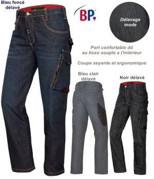 Jean de travail fonctionnel 8 poches, Délavage mode, Port confortable