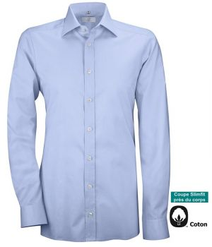 Chemise Bleu Homme, Nouveau Col Kent, Slimfit, Manches longues