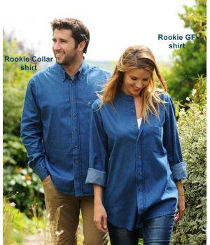 Chemise Coton Bleu Indigo Denim, Col avec boutons, Manches longues