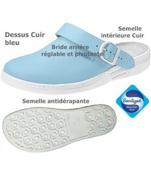 Sabot confort Bride pivotante Dessus semelle intérieure cuir bleu
