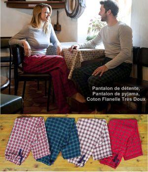 Pantalon de détente, pantalon de pyjama, Coton Flanelle très doux