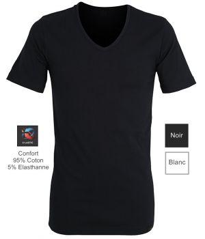Maillot de corps, T-shirt, Col V, Coupe ajustée, Doux et Confortable