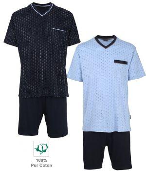 Pyjama, Haut manches courtes, Bas short couleur marine, Coton doux