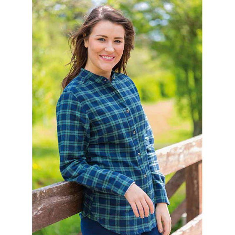 chemise femme col rond flanelle de coton doux manches longues. Black Bedroom Furniture Sets. Home Design Ideas