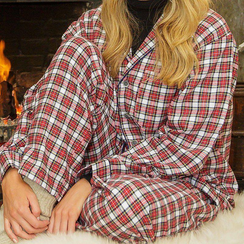 Pyjama femme coton veste boutonnee