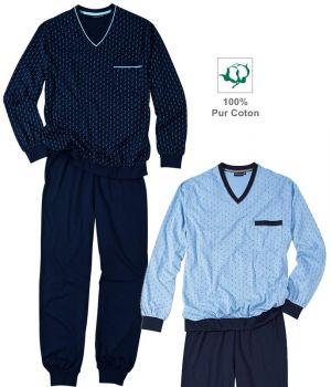 Pyjama, Haut manches longues, Bas pantalon marine, Coton doux