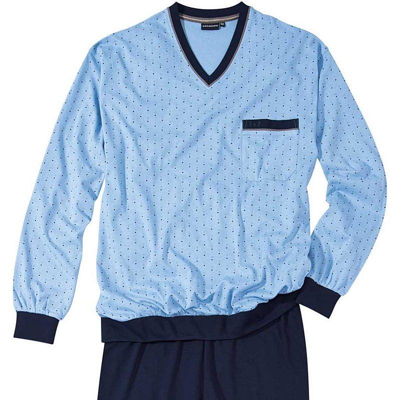 7b93f2a029426 Pyjama, Haut manches longues, Bas pantalon marine, Coton doux
