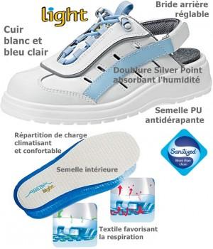 Chaussures Colorline Light, Dessus cuir, antidérapantes, Blanc et Bleu