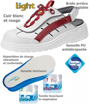 Chaussures Colorline Dessus cuir, antidérapantes Blanc et Rouge