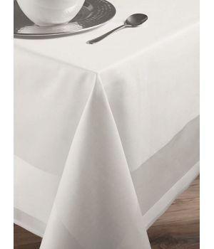 Nappe de table carrée, rectangle, Blanc avec Bande Satin, Coton