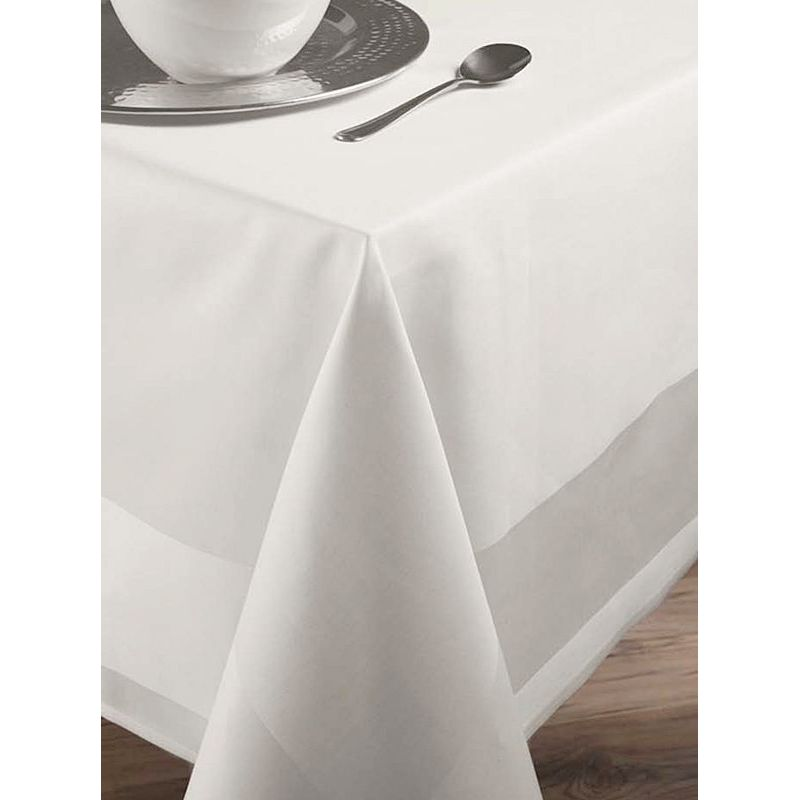 nappe de table carr e rectangle blanc avec bande satin coton. Black Bedroom Furniture Sets. Home Design Ideas