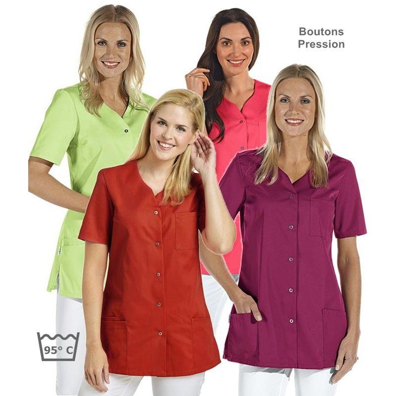 Tunique médicale couleur femme, Boutons pression, Manches 12