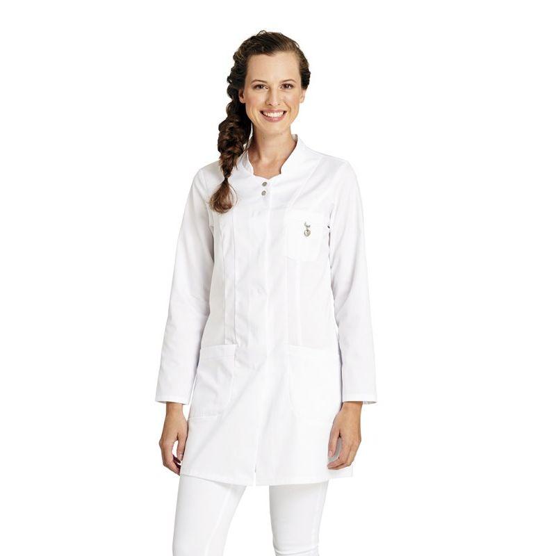 blouse blanche mi longue pour femme manches longues coeur sur poche poitrine. Black Bedroom Furniture Sets. Home Design Ideas