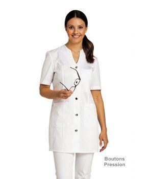 Blouse Medicale Blanche Mi Longue Pour Femme Boutons Pression