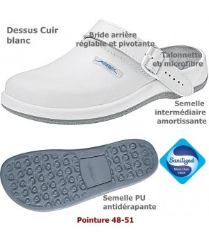 Chaussures de travail, Cuir, antidérapantes, Blanc, Grande Pointure