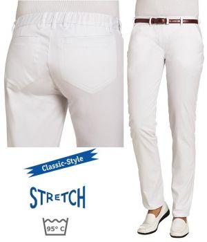 Pantalon Blanc Femme, Style Classique, Stretch, 2 poches latérales