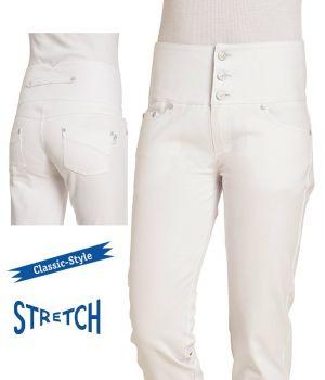 Pantalon Blanc Femme, Ceinture Taille Haute soulignant la silhouette