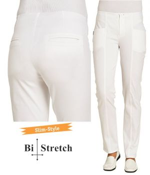 Pantalon Blanc Femme, Slim Style, Jegging Tendance, Bi-Stretch