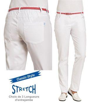 Pantalon Blanc Femme, Classic Style, Ceinture avec zone Stretch