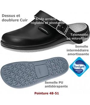 Chaussures de travail, Cuir, antidérapantes, Noir, Grande Pointure