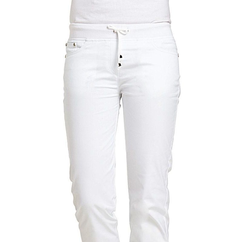 Pantalon blanc femme, Coupe 5 poches, Boutons tendance et rivets décoratifs 300f9224a395
