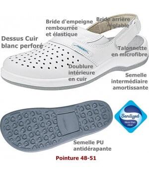 Chaussures de travail, Dessus et semelle intérieure cuir, antidérapantes, Blanc, Grande Pointure
