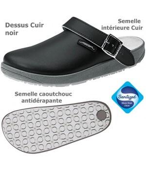 Chaussures de travail, Dessus et semelle intérieure cuir, antidérapantes, Noir