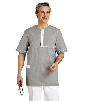 Tunique Médicale Homme, Couleur Gris Jeans, Boutons pression au col
