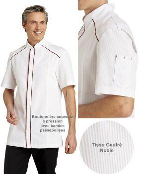 Veste de Cuisine, Manches Courtes, Couleur Blanc et framboise, Tissu gaufré