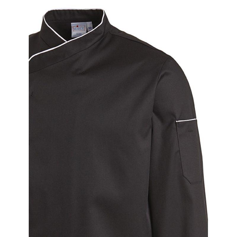 veste de cuisine manches longues passepoil de couleur contrast e au col. Black Bedroom Furniture Sets. Home Design Ideas