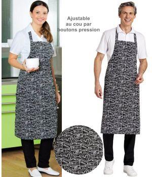 Tablier de Cuisine à Bavette, Tissu aspect imprimé, Boutons pression