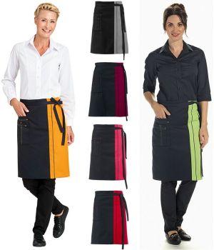 Tablier bistro, serveur, serveuse, poches avec surpiqûres, 60 x 80 cm