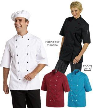 Veste de cuisine, manches courtes, poche sur la manche, rangées de 6 boutonnières,