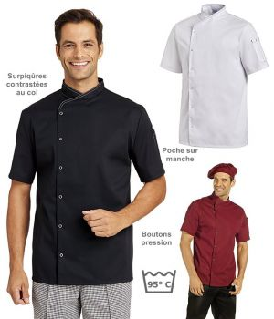 Veste de cuisine Manches courtes, Surpiqûres contrastées au col, Pression